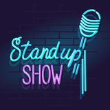 Neon stand up show mic with handwritten lettering. Night illuminated wall street sign. Isolated geometric style illustration on brick wall background Stock Image