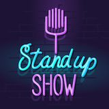 Neon stand up show mic with handwritten lettering. Night illuminated wall street sign. Isolated geometric style illustration on brick wall background Royalty Free Stock Images