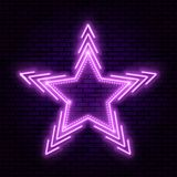 Neon star with beams stock illustration