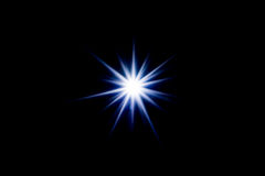 Neon star many rays. Abstract art, picture light Stock Image