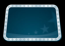 Neon with stars. Silver neon with blue background with stars inside Stock Photo