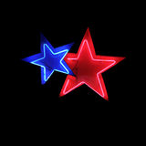 Neon stars. Isolated neon stars sign element royalty free stock photography