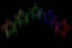 Neon stars on black background Stock Photos