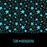 Neon stars border seamless in horizontal direction Stock Photography