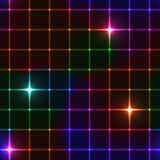 Neon stars on grid Royalty Free Stock Photography