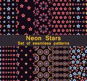 Neon stars seamless pattern set. Collection of backgrounds with five-pointed stars. Vector Royalty Free Stock Photography