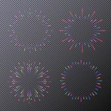Neon stars set isolated on transparent background. Fireworks, sunburst, rays of light for tag, emblem, logo, stamp, logotype, t shirt, banner. Vector Royalty Free Stock Images