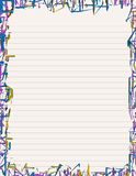 Neon Stationery I. Lined letter-sized paper stationery with neon-like borders Stock Photos
