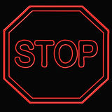 Neon stop sign Stock Image