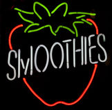 Neon Strawberry Smoothie Sign Royalty Free Stock Photo