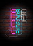 Neon Stripper Sign on A Face Brick Wall vector illustration