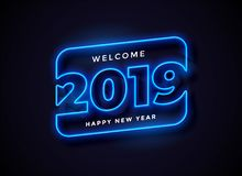 2019 in neon style background royalty free illustration