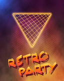 Neon Style Triangle Techno Background. Outer Space Poster Illust Stock Image