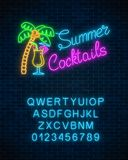 Neon summer cocktail bar sign with alphabet. Glowing gas advertising with pina colada alcohol shake and palm. Neon summer cocktail bar sign with alphabet on Royalty Free Stock Photo