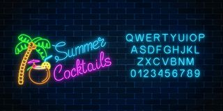 Neon summer cocktail bar sign with alphabet. Glowing gas advertising with shake in coconut and palm. Neon summer cocktail bar sign with alphabet on dark brick Stock Photography