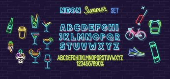 Neon summer icons and font set isolated on brick wall background. For logo, poster, banner. Headline and small letters. royalty free illustration