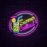 Neon summer sign of cocktail with umbrella on dark brick wall background. Glowing glass of alcohol shake. Neon summer sign of cocktail with umbrella on dark Stock Illustration