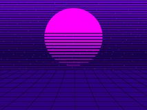Neon sunset in the style of 80s. Synthwave retro futuristic background. Retrowave. Vector. Illustration vector illustration