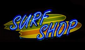 Neon Surf Shop Royalty Free Stock Image