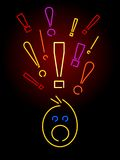 Neon Surprise. A face showing surprise rendered in neon tubes vector illustration