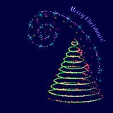 Neon swirl. Christmas background. Stylized Christmas tree and star neon swirl. Vector illustration Royalty Free Stock Photos