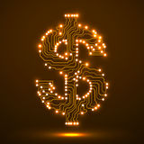 Neon symbol of dollar. Circuit board. Vector illustration. Eps 10 Stock Image