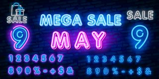 Neon symbol for May : Month Name with colorful elements : Vector Illustration. Glowing neon sign, bright glowing advertising, sale vector illustration