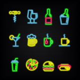 Neon symbols of different beverages and fast food. Stock Photos