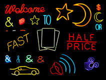 Neon Symbols and Words Stock Image