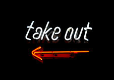 Neon Take Out sign Royalty Free Stock Images