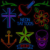 Neon Tattoos. Collection of tattoo art in neon light style stock illustration