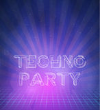 1980 Neon Techno Poster Retro Disco 80s Background made in Tron. Illustration of 1980 Neon Techno Poster Retro Disco 80s Background made in Tron style with Royalty Free Stock Image