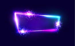 Neon-Techno-Rahmen mit Explosion und Feuerwerk Lizenzfreie Stockfotografie