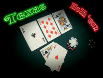 Neon Texas Hold Em. A TEXAS HOLD EM hand is spotlighted in the stage of the game known as THE FLOP (three cards face up ACE TEN KING). The player has thrown his Royalty Free Stock Photography