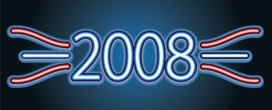 Neon text. 2008. Vector illustration Royalty Free Stock Image