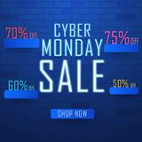 Neon text Cyber Monday Sale with different discount offers on sh. Iny blue brick wall. Advertising concept based design royalty free illustration