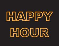 Neon text happy hour Royalty Free Stock Photography