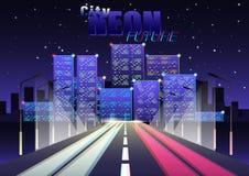Neon toekomstige Stad stock illustratie
