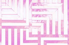Neon toned psychedelic background. Linear, angular pattern of marble tiles on the wall. Reflection of the palm leaf royalty free illustration