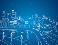 Neon train,  lines train on the bridge, train on the background of the night city Royalty Free Stock Image