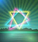Neon Triangle Disco Poster Template 80s Background. Retro Music Stock Photography