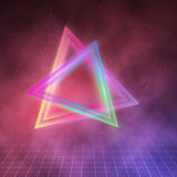 Neon Triangle Disco Poster Template 80s Background. Retro Music Stock Images