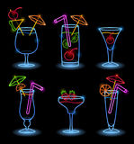 Neon Tropical Drinks. On black background vector illustration