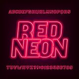 Neon tube alphabet font. Red color oblique letters and numbers. Royalty Free Stock Photography