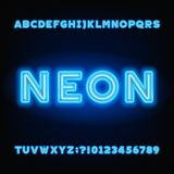 Neon tube alphabet font. White and blue color bold letters and numbers. vector illustration