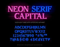 Neon tube base latin alphabet typeface with serifs letters, numbers, special symbols, characters and currency sign. vector illustration