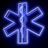 Neon tube blue star of life, from bottom right. Blue neon tube star of life over dark reflective background, 3d rendering Royalty Free Stock Photography