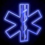 Neon tube blue star of life, from top left. Neon blue star of life on black, reflective background, 3d rendering Stock Photo