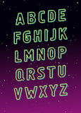 Neon tube glowing alphabet. Vector Royalty Free Stock Photography