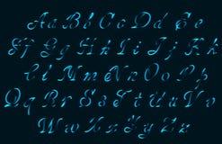Neon tube hand drawn alphabet font stock illustration